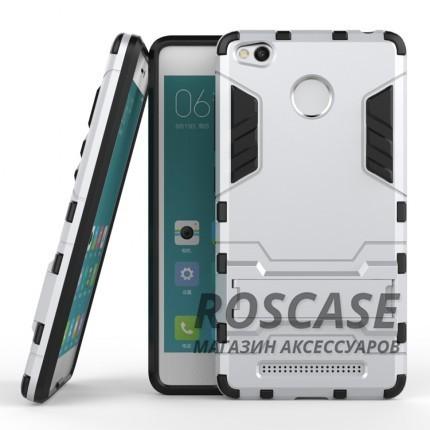 Ударопрочный чехол-подставка Transformer для Xiaomi Redmi 3 Pro / Redmi 3s с мощной защитой корпуса (Серебряный / Satin Silver)Описание:подходит для Xiaomi Redmi 3 Pro / Redmi 3s;материалы: термополиуретан, поликарбонат;формат: накладка.&amp;nbsp;Особенности:функциональные вырезы;функция подставки;двойная степень защиты;защита от механических повреждений;не скользит в руках.<br><br>Тип: Чехол<br>Бренд: Epik<br>Материал: TPU