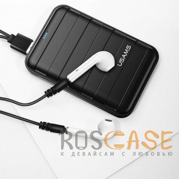 Фото Белый USAMS-LU001 | Беспроводные наушники Bluetooth с микрофоном и кейсом подзарядкой (Док-станция)