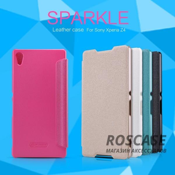 Кожаный чехол (книжка) Nillkin Sparkle Series для Sony Xperia Z3+/Xperia Z3+ DualОписание:бренд&amp;nbsp;Nillkin;совместимость: Sony Xperia Z3+/Xperia Z3+ Dual;материалы: искусственная кожа, поликарбонат;тип: чехол-книжка.Особенности:не заметны отпечатки пальцев;защита от механических повреждений;не теряет цвет;блестящая поверхность;надежная фиксация.<br><br>Тип: Чехол<br>Бренд: Nillkin<br>Материал: Искусственная кожа