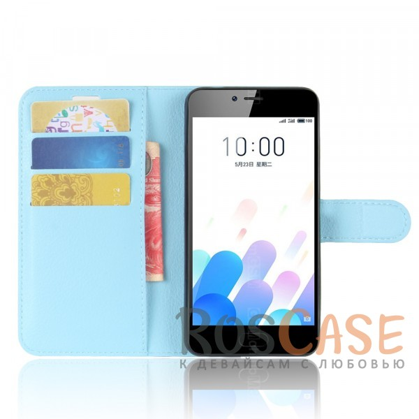 Фото Голубой Гладкий кожаный чехол-бумажник на магнитной застежке с функцией подставки и внутренними карманами для Meizu M5c