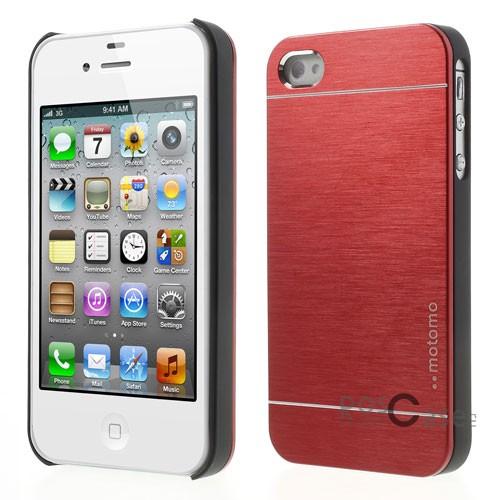 Накладка MOTOMO с алюминиевой вставкой для Apple iPhone 4/4S (Красный)Описание:компания-производитель: MOTOMO;совместим с Apple iPhone 4/4S;используемые материалы: поликарбонат, алюминий;форма: накладка.&amp;nbsp;Особенности:ультратонкое исполнение;полный набор функциональных вырезов;высокий уровень защиты;алюминиевая декоративная вставка;плотное прилегание;надежная фиксация.<br><br>Тип: Чехол<br>Бренд: Epik<br>Материал: Металл