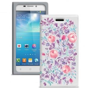 """Универсальный яркий чехол-книжка с цветочным рисунком Gresso """"Вива"""" для смартфона 5.1-5.3 дюйма"""