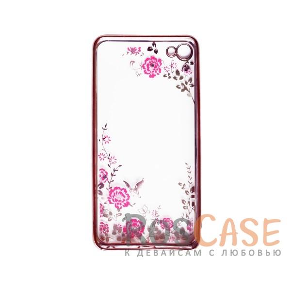 Фотография Розовый золотой/Розовые цветы Прозрачный чехол со стразами для Meizu U20 с глянцевым бампером