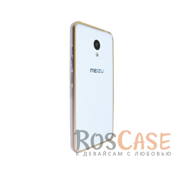 Изображение Золотой Металлический бампер для Meizu M3 / M3 mini / M3s на защелке