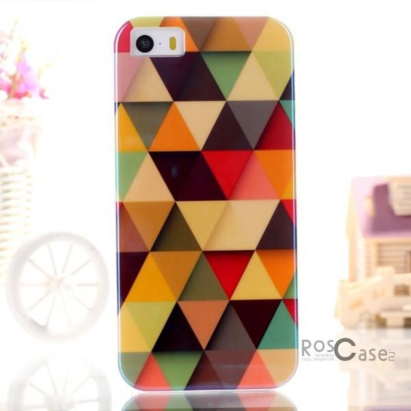 """фото TPU чехол IMD Print """"Цветные треугольники"""" для Apple iPhone 5/5S/5SE"""