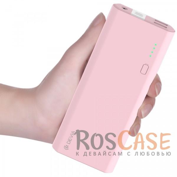 Изображение Розовый Devia | Портативное зарядное устройство Power Bank 10000mAh 2 USB 2.4 A со встроенным фонариком