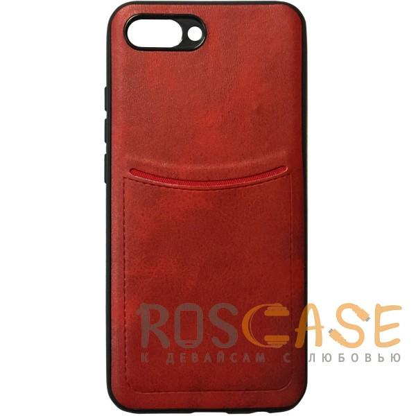 Фото Красный ILEVEL | Чехол с кожаным покрытием и с карманом-визитницей для Huawei Honor 10