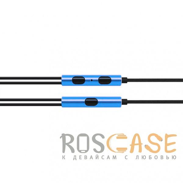 Фотография Синий JX | Металлические наушники с плетеным проводом и пультом