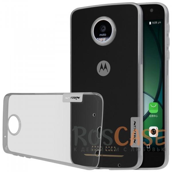 TPU чехол Nillkin Nature Series для Motorola Moto Z Play (Серый (прозрачный))<br><br>Тип: Чехол<br>Бренд: Nillkin<br>Материал: TPU