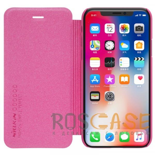 """Изображение Розовый Nillkin Sparkle   Чехол-книжка с вырезом под логотип для Apple iPhoneX(5.8"""")/XS(5.8"""")"""