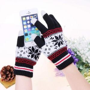Емкостные перчатки утепленные (с узором)