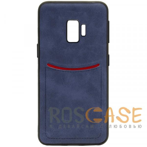 Фото Синий ILEVEL | Чехол с кожаным покрытием и с карманом-визитницей для Samsung Galaxy S9