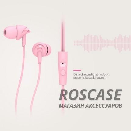 Фото Розовый ROCK Y1 | Наушники с кнопкой ответа на вызов и микрофоном