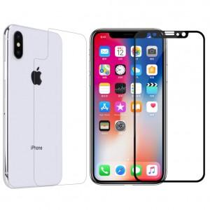 """Защитное стекло с цветной рамкой на весь экран для Apple iPhone X (5.8"""")/XS (5.8"""") + пленка"""