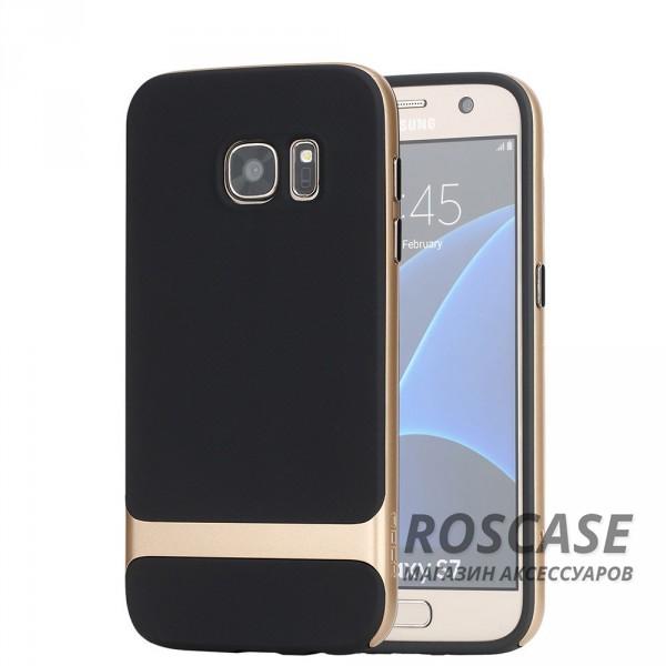 TPU+PC чехол Rock Royce Series для Samsung G930F Galaxy S7 (Черный / Золотой)Описание:производитель  -  компания&amp;nbsp;Rock;совместим с Samsung G930F Galaxy S7;материалы  -  полиуретан, поликарбонат;тип  -  накладка.&amp;nbsp;Особенности:тонкий и легкий;окантовка из поликарбоната;в наличии все функциональные вырезы;легкая очистка;хорошее сцепление с поверхностями;защищает от механических повреждений;легкая установка и удаление.<br><br>Тип: Чехол<br>Бренд: ROCK<br>Материал: TPU