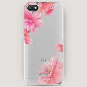 RosCase | Силиконовый чехол Розовые цветочные уголки на Xiaomi Redmi 6A