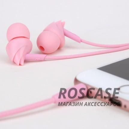 Фотография Розовый ROCK Y1 | Наушники с кнопкой ответа на вызов и микрофоном