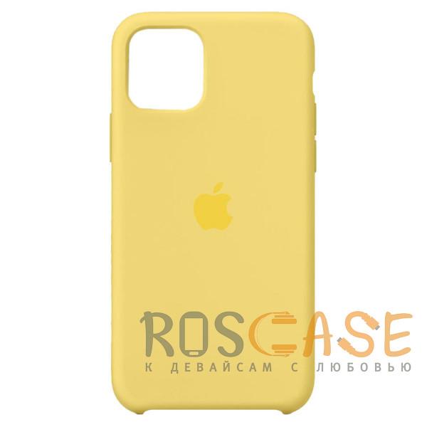 Фото Желтый Силиконовый чехол Silicone Case с микрофиброй для iPhone 11 Pro