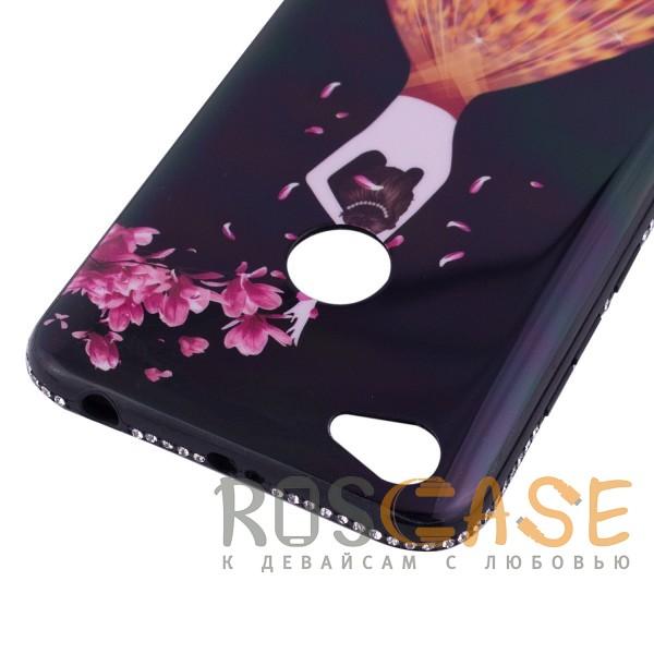 Фото Черный / Лепестки Magic Girl | Глянцевый чехол с элегантным принтом и стразами для Xiaomi Redmi 4X