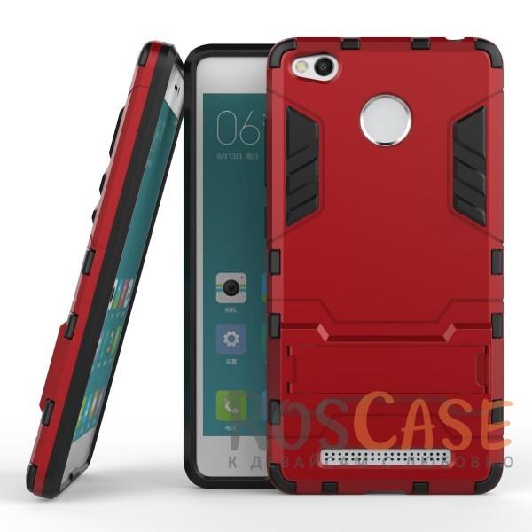 Ударопрочный чехол-подставка Transformer для Xiaomi Redmi 3 Pro / Redmi 3s с мощной защитой корпуса (Красный / Dante Red)Описание:подходит для Xiaomi Redmi 3 Pro / Redmi 3s;материалы: термополиуретан, поликарбонат;формат: накладка.&amp;nbsp;Особенности:функциональные вырезы;функция подставки;двойная степень защиты;защита от механических повреждений;не скользит в руках.<br><br>Тип: Чехол<br>Бренд: Epik<br>Материал: TPU