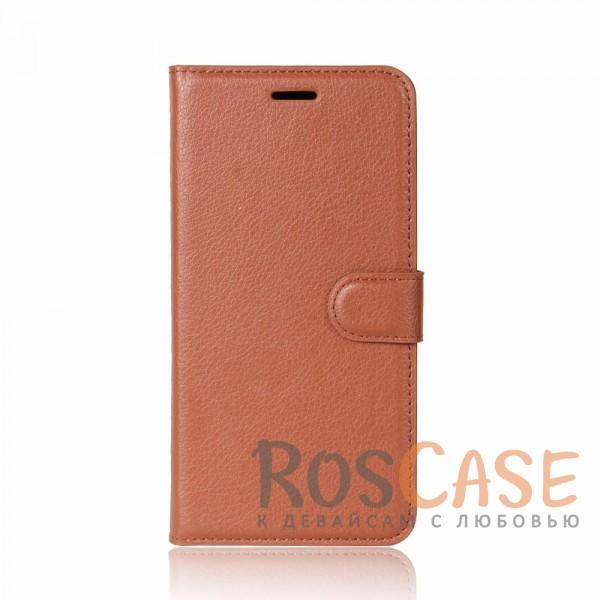 Гладкий кожаный чехол-бумажник на магнитной застежке Wallet с функцией подставки и внутренними карманами для HTC U11 (Коричневый)Описание:совместимость - HTC U11;материалы  -  искусственная кожа, TPU;форма  -  чехол-книжка;фактурная поверхность;предусмотрены все функциональные вырезы;кармашки для визиток/кредитных карт/купюр;магнитная застежка;защита от механических повреждений.<br><br>Тип: Чехол<br>Бренд: Epik<br>Материал: Искусственная кожа