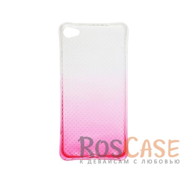 Фото Розовый Гибкий чехол для Meizu U20 из прозрачного силикона с градиентным цветным напылением