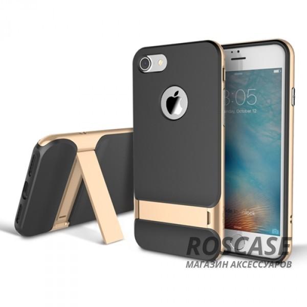 TPU+PC чехол Rock Royce Series с функцией подставки для Apple iPhone 7 plus (5.5) (Черный / Champagne gold)Описание:изготовитель: компания Rock;совместимость: смартфоны Apple iPhone 7 plus (5.5);произведен из термопластичного полиуретана и качественного поликарбоната;тип крепления: накладка;поверхность: частично матовая, частично глянцевая.Особенности:защищает от повреждений при падениях;имеет двойную конструкцию;имеет функцию подставки;позиционируется как аксессуар с интересным нетривиальным дизайном.<br><br>Тип: Чехол<br>Бренд: ROCK<br>Материал: TPU