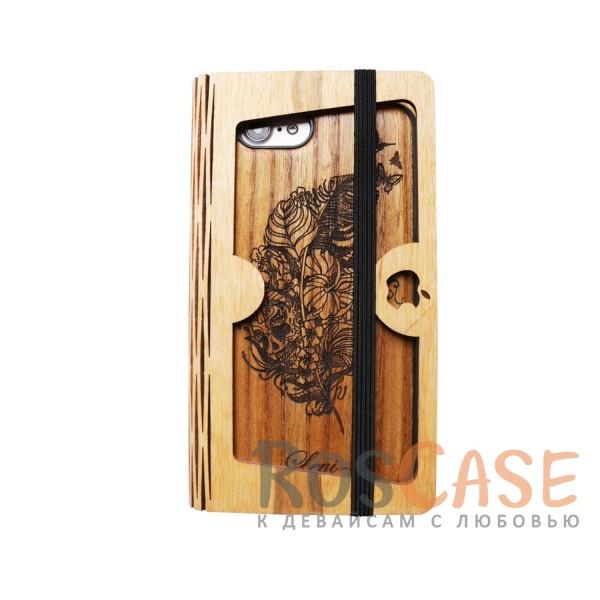 Накладка Buddy с деревянной вставкой ручной работы для Apple iPhone 7 (4.7) (Череп)<br><br>Тип: Чехол<br>Бренд: Epik<br>Материал: Пластик
