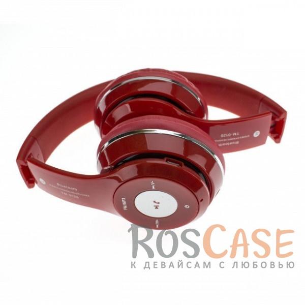 Фотография Красный TM-012S   Беспроводные наушники Bluetooth с микрофоном и разъемом для карты памяти
