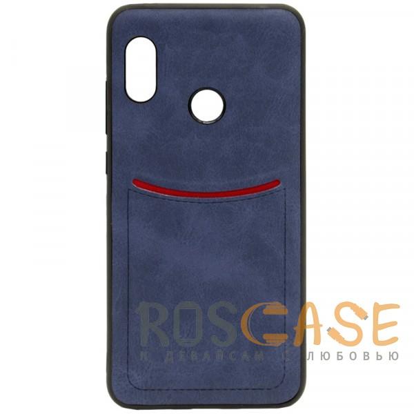 Фото Синий ILEVEL | Чехол с кожаным покрытием и с карманом-визитницей для Xiaomi Redmi Note 5 Pro / Note 5 (AI Dual Camera)