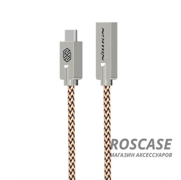Кабель Nillkin Chic USB to Type-C (1m) (Хаки)Описание:бренд&amp;nbsp;Nillkin;материал - TPE (термоэластопласт);тип&amp;nbsp; - &amp;nbsp;дата кабель;совместимость: устройства с разъемом Type C.Особенности:гибкий и пластичный;плетеная оплетка;длина&amp;nbsp;кабеля - 100 см;сила тока - 2,1 A;разъемы -&amp;nbsp;Type C, USB 2.0;высокая скорость передачи данных;совмещает три в одном: синхронизация данных, передача данных, зарядка;устойчив к воздействию низких температур.<br><br>Тип: USB кабель/адаптер<br>Бренд: Nillkin