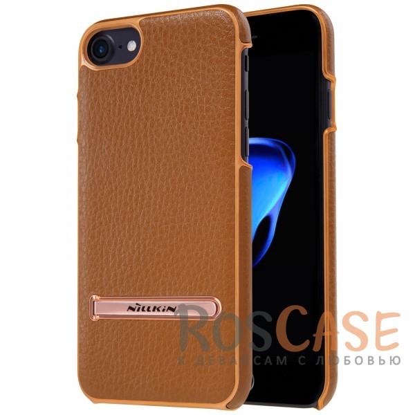 Кожаная накладка с подставкой Nillkin M-Jarl Series для Apple iPhone 7 (4.7) (Коричневый)Описание:производитель  - &amp;nbsp;Nillkin;разработан для Apple iPhone 7 (4.7);материалы  -  искусственная кожа, металл;тип  -  накладка.&amp;nbsp;Особенности:элегантный дизайн;в наличии функциональные вырезы;не видны отпечатки пальцев;металлическая окантовка;защищает от царапин и падений;функция подставки.<br><br>Тип: Чехол<br>Бренд: Nillkin<br>Материал: Искусственная кожа