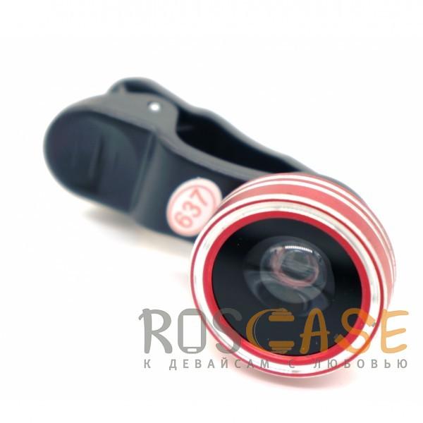 Фото линза-объектив 3 в 1 (fish eye, широкоугольная, макросъемка) (Красный), ,