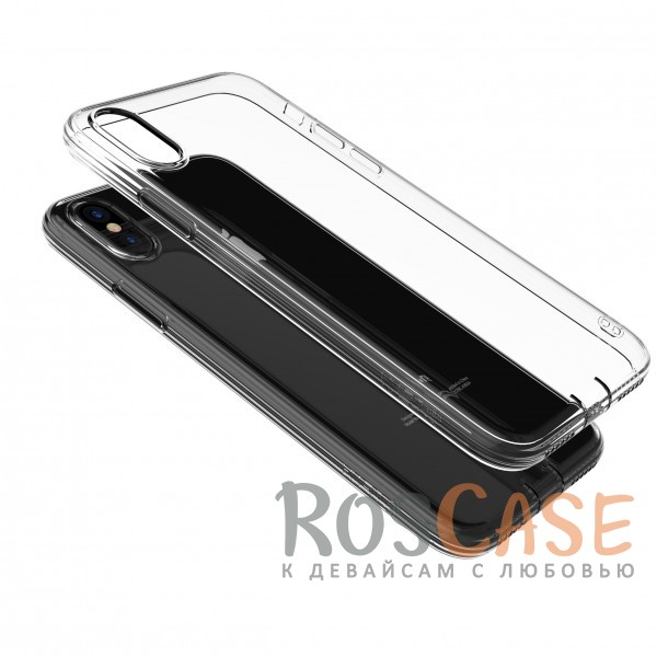 Прозрачный ультратонкий силиконовый чехол-накладка с дополнительной защитой камеры и клавиш для Apple iPhone X (Серый)<br><br>Тип: Чехол<br>Бренд: Epik<br>Материал: TPU