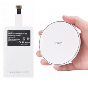 Комплект | Модуль беспроводной зарядки QI Lighting + Беспроводное зарядное устройство HOCO CW6 c LED индикатором уровня заряда (для iPhone)