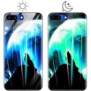 Светящийся в темноте чехол для Huawei Honor 10 со стеклянным покрытием и принтом