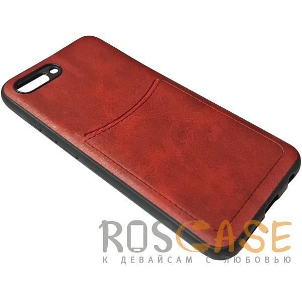 Изображение Красный ILEVEL | Чехол с кожаным покрытием и с карманом-визитницей для Huawei Honor 10