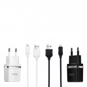 Зарядное устройство Hoco C12 2USB 2.4A + кабель Lightning  для iPad Air