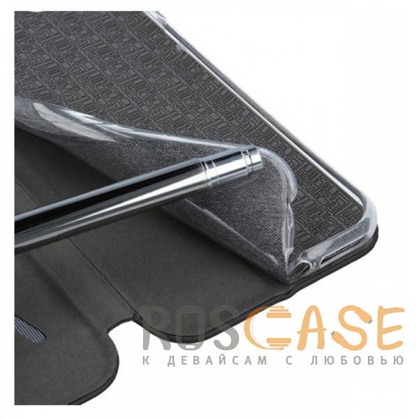Изображение Черный Open Color | Кожаный чехол-книжка для Samsung Galaxy M21 с функцией подставки и магнитом