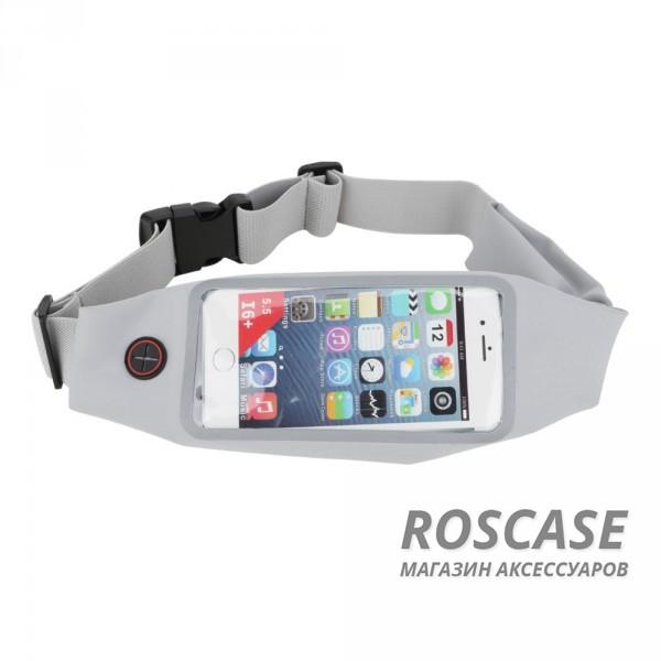 Спортивная сумка на пояс Rock Universal Running (Серый / Grey)Описание:производитель  - &amp;nbsp;Rock;совместимость  -  смартфоны с диагональю&amp;nbsp;до 6-ти дюймов;материал  -  полиэстер;форма  -  сумка на пояс.&amp;nbsp;Особенности:крепится на пояс;эластичная резинка;застегивается на молнию;материал обладает влагоотталкивающими свойствами;разъем для наушников;подходит для гаджетов с диагональю до 6-ти дюймов;удобно использовать во время занятий спортом;можно носить в сумке кредитки, ключи и другие мелочи.<br><br>Тип: Чехол<br>Бренд: ROCK<br>Материал: Неопрен