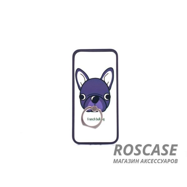 Чехол-подставка с кольцом Fancy animals для Apple iPhone 5/5S/SE (Черная собака)Описание:разработан для Apple iPhone 5/5S/SE;материал: пластик;форма: накладка с кольцом.&amp;nbsp;Особенности:кольцо-подставка;функциональные вырезы;оригинальный дизайн;защита от ударов и царапин;не скользит в руках.<br><br>Тип: Чехол<br>Бренд: Epik<br>Материал: Пластик
