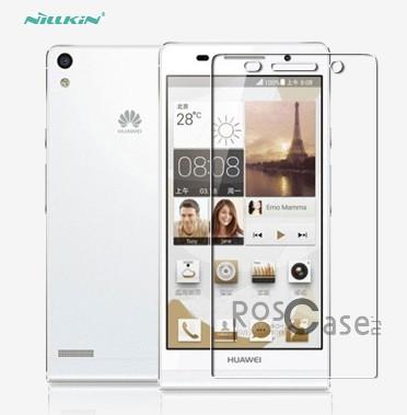 Прозрачная глянцевая защитная пленка на экран с гладким пылеотталкивающим покрытием для Huawei Ascend P6Описание:разработчик и производитель Nillkin;совместима с Huawei Ascend P6;изготовлена из полимера;покрытие глянцевое.&amp;nbsp;Особенности:ультратонкая и прозрачная;не дает образоваться отпечаткам;легкая фиксация;не снижает чувствительность сенсора.<br><br>Тип: Защитная пленка<br>Бренд: Nillkin