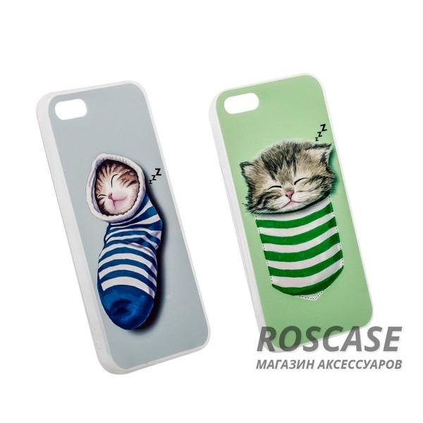 """Фотография Тонкий силиконовый чехол с принтом """"Милые котята"""" для Apple iPhone 5/5S/SE"""