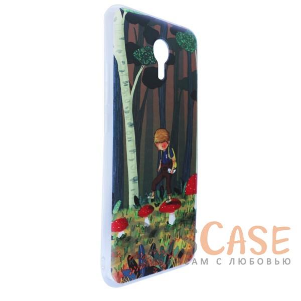 """Фото Тонкий силиконовый чехол """"Мальчик и Мухоморы"""" с прозрачными краями для Meizu M3 Note"""
