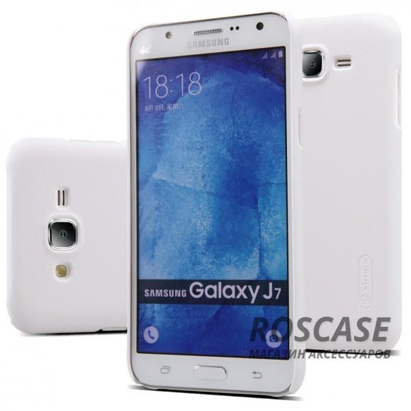 Чехол Nillkin Matte для Samsung J700H Galaxy J7 (+ пленка) (Белый)Описание:производитель -&amp;nbsp;Nillkin;материал - поликарбонат;совместим с Samsung J700H Galaxy J7;тип - накладка.&amp;nbsp;Особенности:матовый;прочный;тонкий дизайн;не скользит в руках;не выцветает;пленка в комплекте.<br><br>Тип: Чехол<br>Бренд: Nillkin<br>Материал: Поликарбонат
