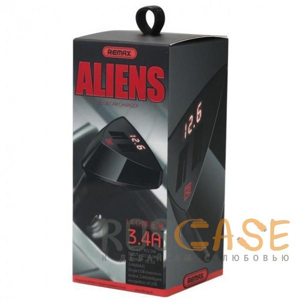 Изображение Черный REMAX RCC208 Aliens | Автомобильное зарядное устройство на 2USB с дисплеем напряжения (3.4A)