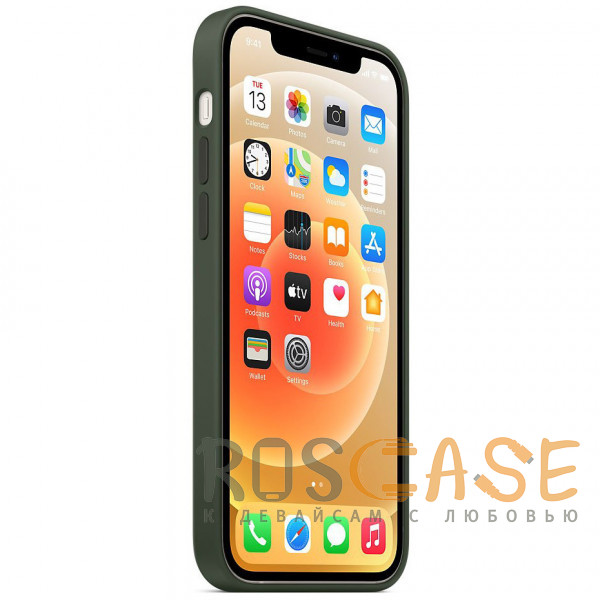 Изображение Темно зеленый Силиконовый чехол Silicone Case с микрофиброй для iPhone 12 Mini