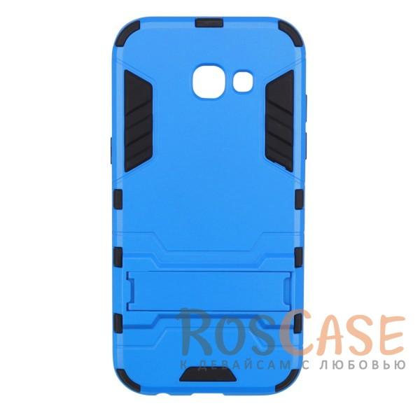 Ударопрочный чехол-подставка Transformer для Samsung A320 Galaxy A3 (2017) с мощной защитой корпуса (Синий / Navy)Описание:ударопрочный аксессуар с функцией подставки;чехол разработан для&amp;nbsp;Samsung A320 Galaxy A3 (2017);материалы - термополиуретан, поликарбонат;тип - накладка.<br><br>Тип: Чехол<br>Бренд: Epik<br>Материал: TPU