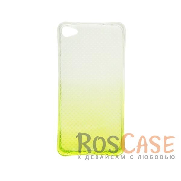 Фото Желтый Гибкий чехол для Meizu U20 из прозрачного силикона с градиентным цветным напылением