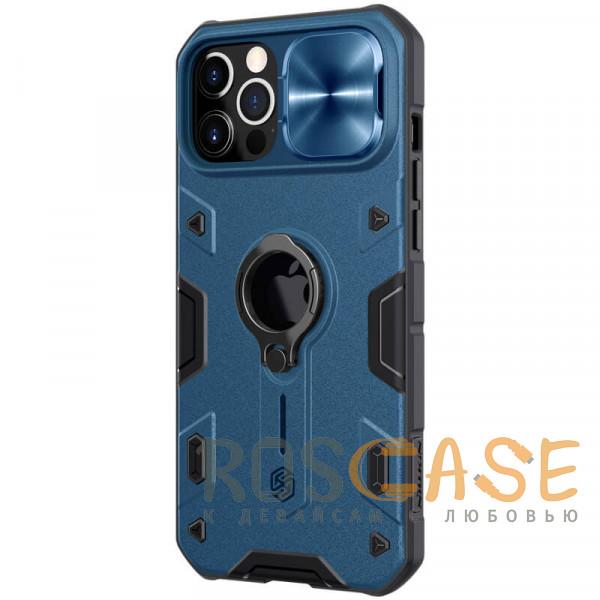 Фотография Синий Nillkin CamShield Armor | Противоударный чехол с защитой камеры и кольцом для iPhone 12 Pro Max с отверстием под лого